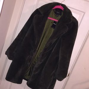 Olive Green Faux Fur Coat